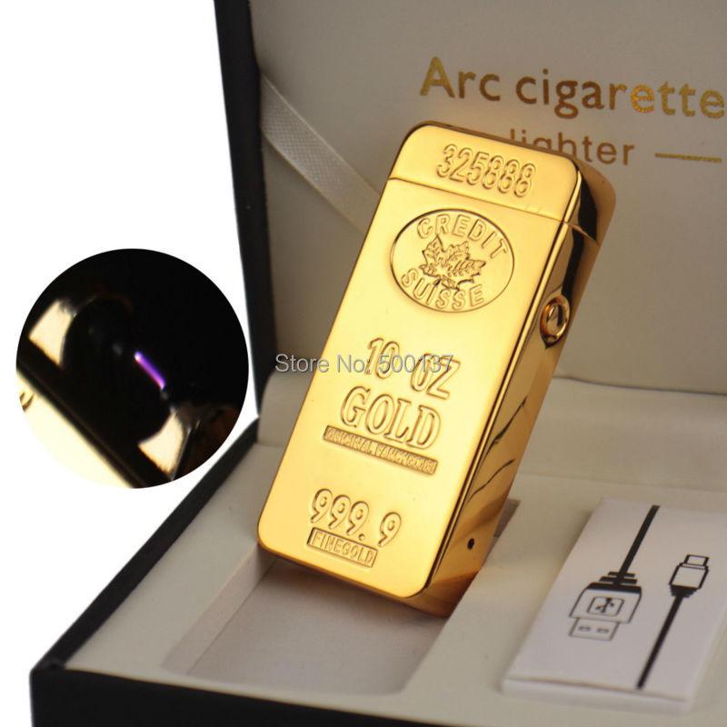 ถูก ทองคำแท่งUSBชาร์จเบาบุหรี่ควันWindproof Arcเบา