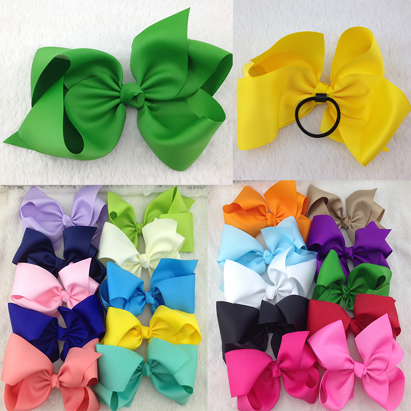 5pc/lot 8inch High Quality Boutique Ribbon Hair Ribbon Bows with Elastic Rubber Band for Hairband for Kids Hair Accessories(China (Mainland))
