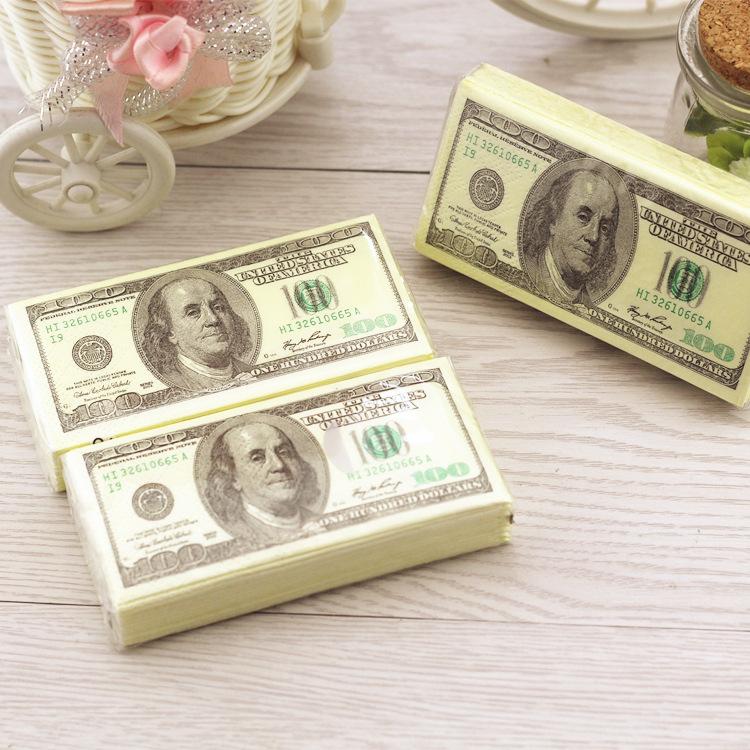 100 Dollars Napkin Tissue Dollar Bill Towel Novelty Gift Personality Popularity Wipe Hot Selling New(China (Mainland))
