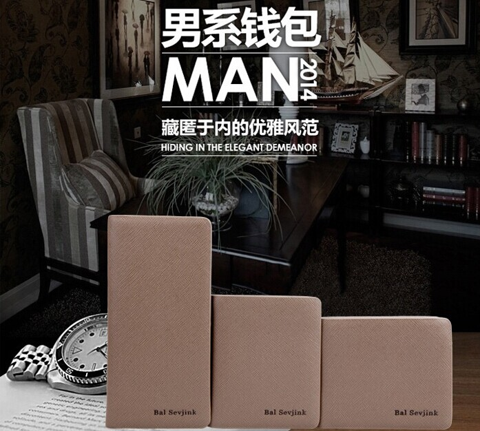 Hits 2014 sell brand new men's wallet wallet high quality synthetic leather with a short design men purse holders for men(China (Mainland))
