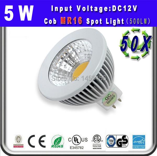 5W MR16 LED Lamp High Qulity cob LED Spot Light Warm White Pure White LED Bulb Downlight Lighting dc12v spot bulbs 50 pcs/lot(China (Mainland))