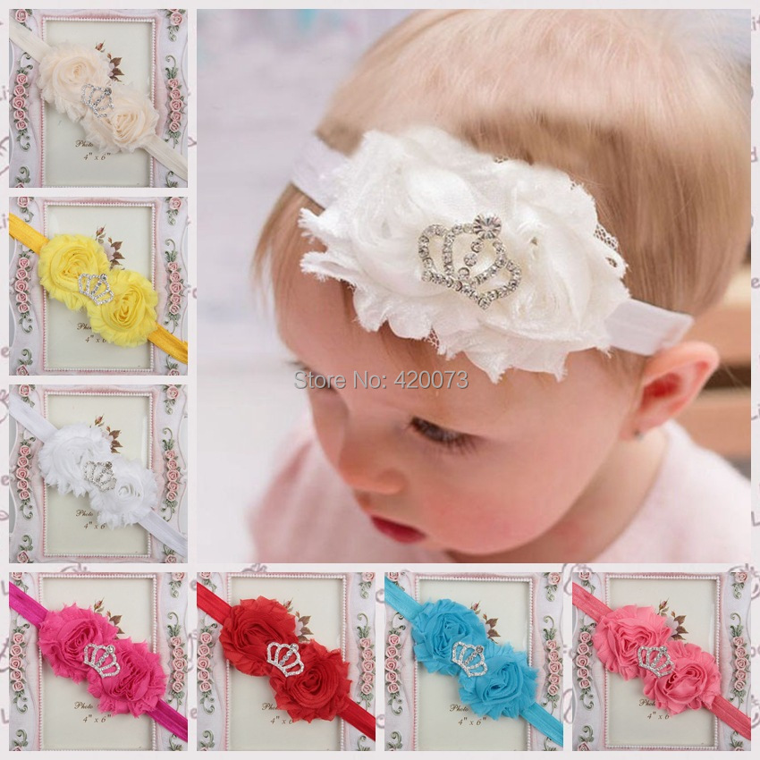 Free Shipping 10 Pcs/lot Solid Chiffon Flower With Elastic,Flower Headband For Kids,Girls Crown Elastic Headband,Baby Headband(China (Mainland))