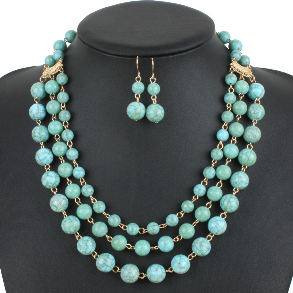 turquoise color resin bead necklace new fashion gold plate statement necklace women collares party jewelry 6500(China (Mainland))