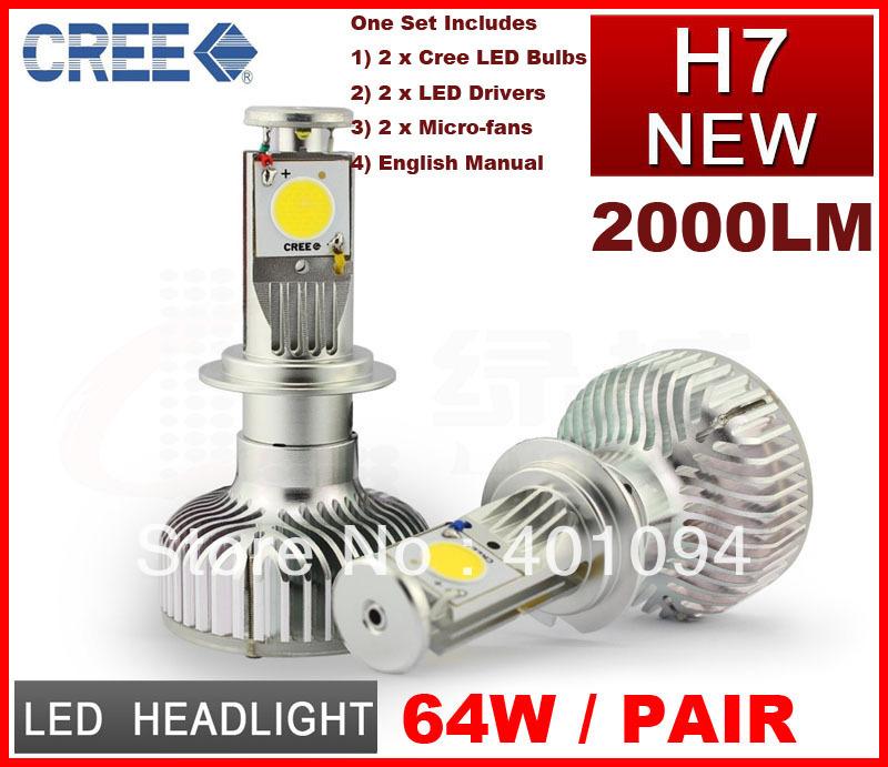 Фотография EMS 2 Set H7 64W CREE LED Headlight Head Lamp 2COB Xenon White 5500K 2000LM Universal Car Truck 12V/24V H4 H/L H8 H11 9005 9006