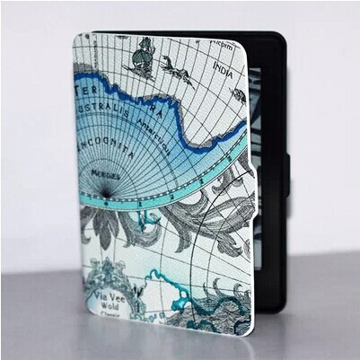 2014 New Luxury Map Design PU Leather Case Tablet Cover Protective Skin For Amazon Kindle Paperwhite1/2 with screen protector(China (Mainland))