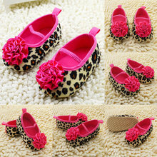 0-18M Infant Baby Kids Girls Soft Sole Leopard Flower Shoes Knitted Crib Shoes(China (Mainland))