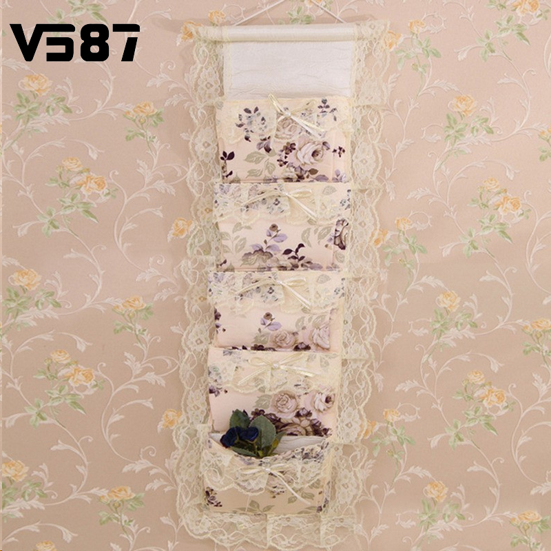 Hanging Lace Multilayer Storage Bags Organizer Pouch Fabric Polyester Vintage Garden Flower Home Decor Multifunctional Bag(China (Mainland))