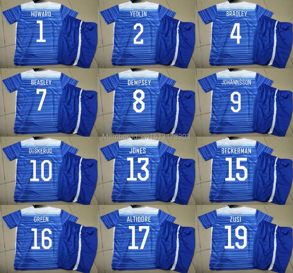 Free Custom Kids 15 16 USA Soccer Jerseys Blue Away DEMPSEY Yedlin JonesTim Howard Football Shirts Youth 2016 USA Soccer Jerseys(China (Mainland))