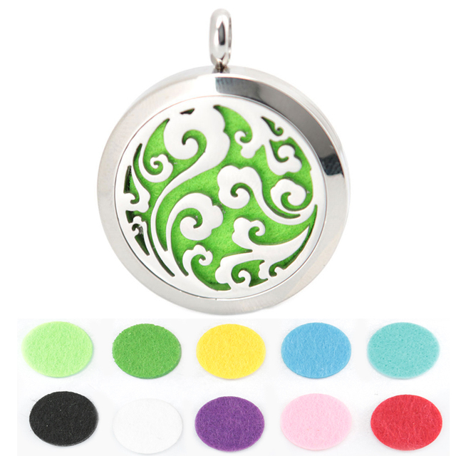 10pcs Round Silver  ocean 30mm Aromatherapy Essential Oils Stainless Steel Perfume Diffuser Locket With chain and Pads