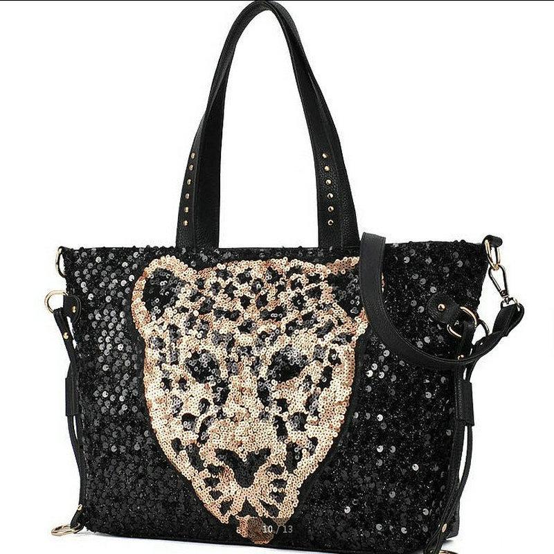 shoulder bag Messenger bag cartoon leopard head tide fashion handbags sequined handbag Wholesale 2015 new(China (Mainland))