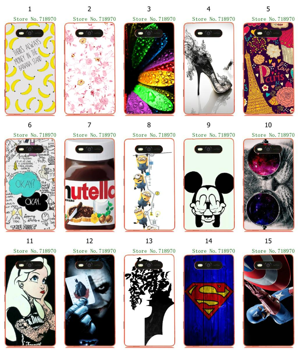 1pc 15designs superman nutella flower print hybrid retail white hard mobile phone bags&cases for Nokia Lumia 820 N820 free ship(China (Mainland))