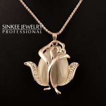 SINKEE free shipping charm resin opal rose pendant necklace long chain for women and girl fashion jewelry MY249