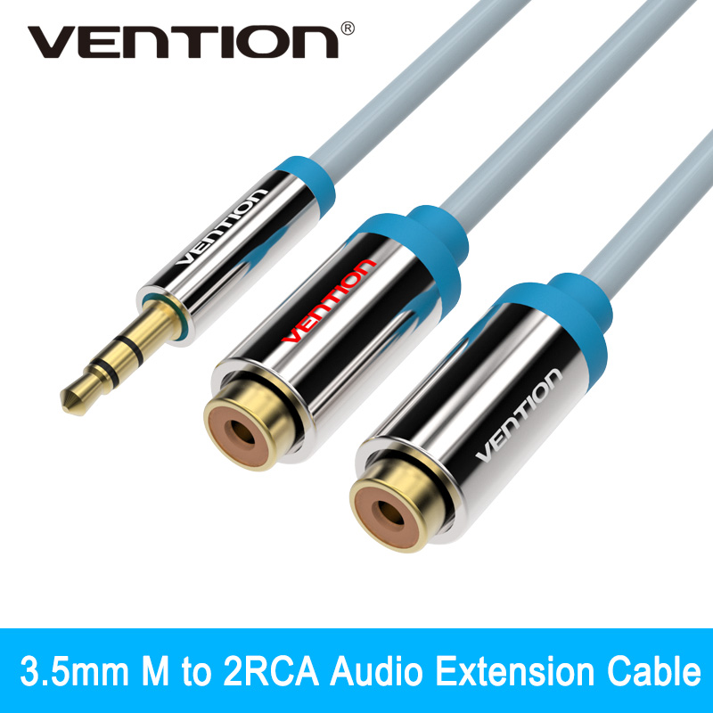 Vention 3.5mm Jack to 2 Female RCA Splitter 1 to 2 Y Audio Cable For Stereo Amplifier(China (Mainland))