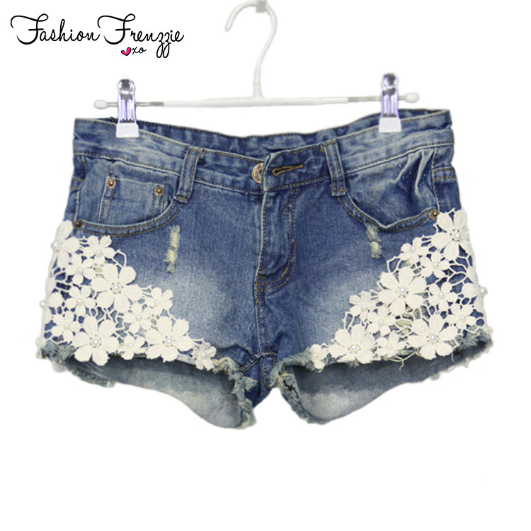 Lace Floral Beading Women Wash Jeans Denim Shorts Size S-2XL Rivet Decorated Summer Fashion Lady Short Pants Trousers G1005(China (Mainland))