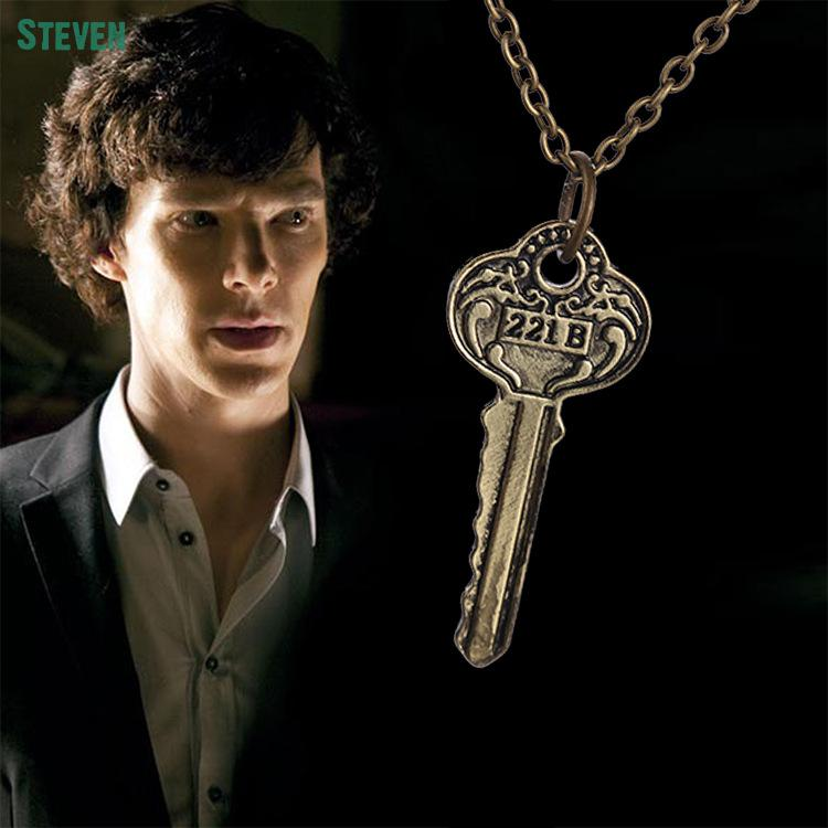 Hot Selling The Key To 221b Sherlock Necklace Pendants New Movies Jewelry Silver And Bronze Pendant