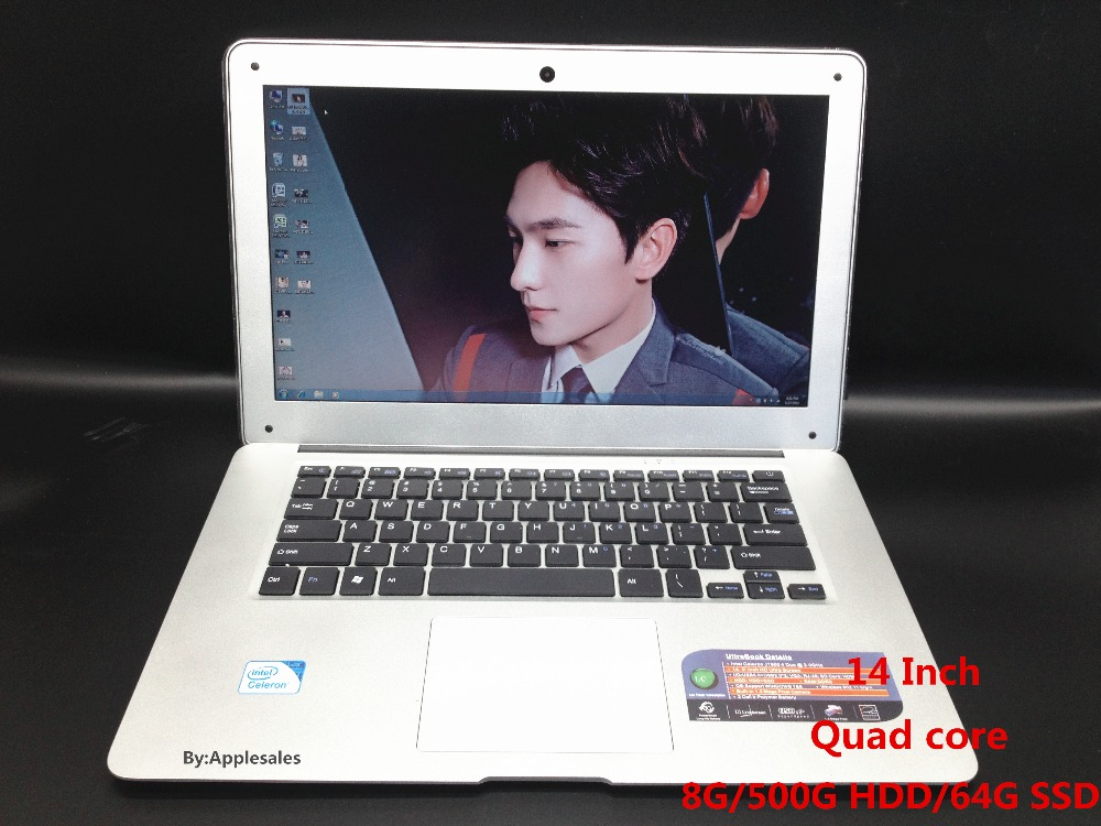 14 inch Laptop In-tel celeron J1900 2.0GHz 8G+500GB +64GB SSD Quad-Core Windows7 Wifi notebook tablet PC Ultrabook Computer(China (Mainland))