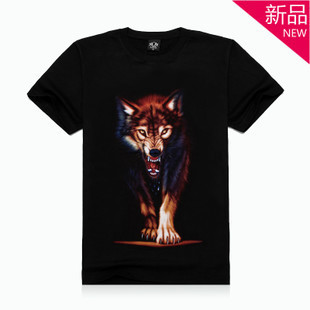 new 2013 men's punk rock 3d wolf printing t shirts cotton tops t shirts men large size tees S-XXL