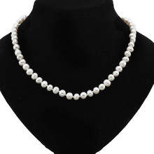 real pure white freshwater pearl necklace for girl actual cultured pearl necklace with 925 sterling silver clasp