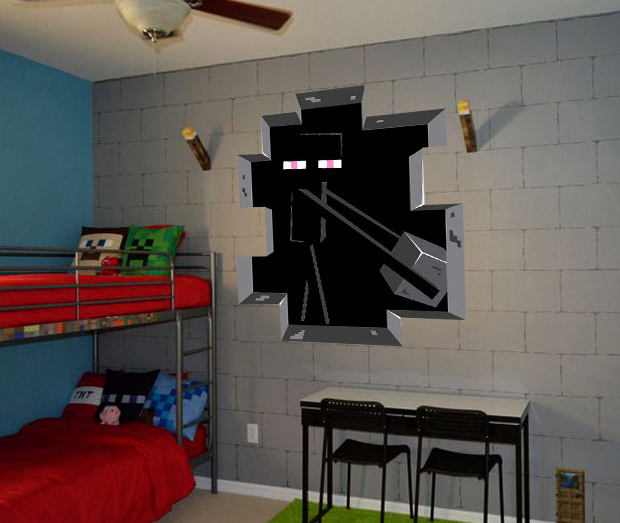3D Minecraft Style Wall Decal Poster Sticker Room Bedroom Decor Video Game-6(China (Mainland))