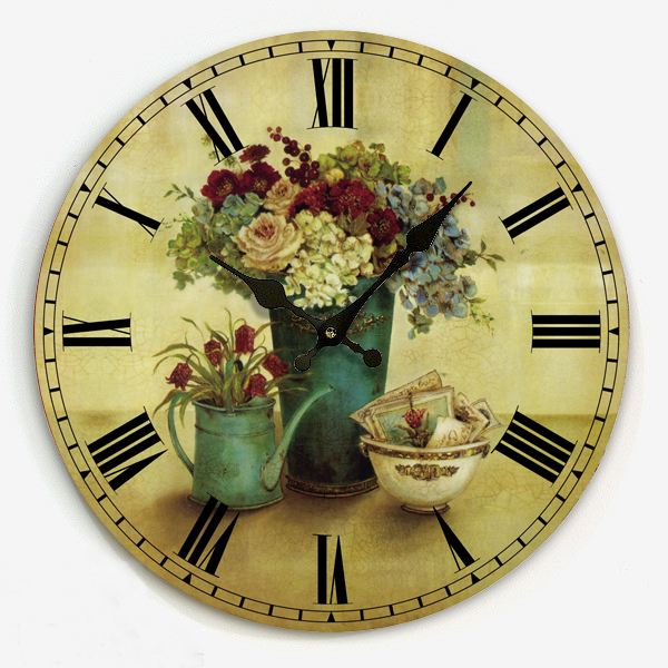 Free shipping antique country Frameless design 34cm kitchen retro interior wooden wall clock Roman numeral face hour on the wall