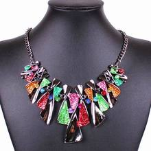 2014 New Fashion Luxurious Geometric Colorful Pendant Lady's Alloying Rhinestone Statement Necklace Club Jewlery Accessories
