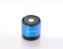 788S My vision blue aluminum shell round corporate gifts mini speaker handsfree with Micro TF card slot free shipping