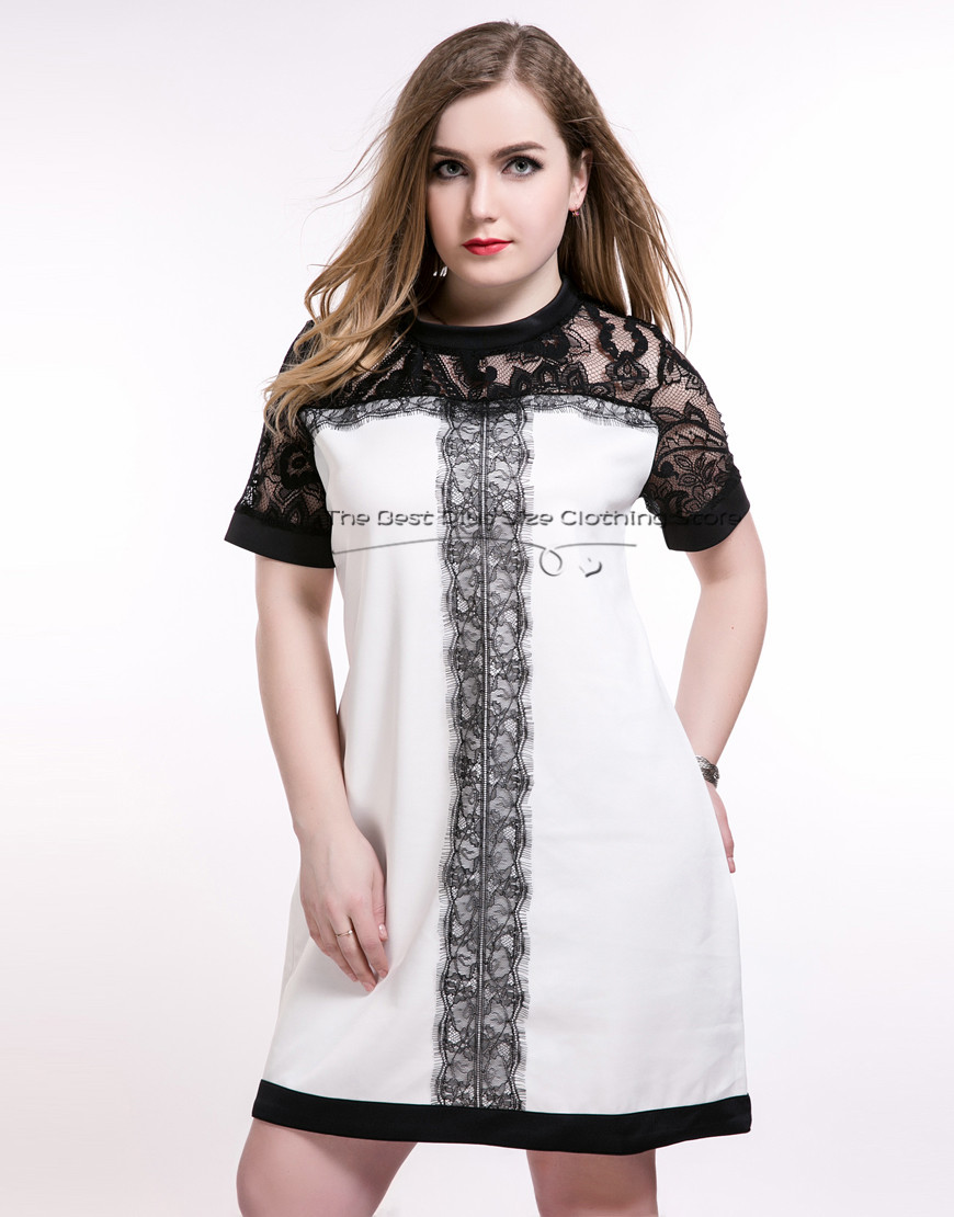 2016 womens sexy contrast white and black patchwork plus size party dress lace patchwork spring dress designer summer lace dress(China (Mainland))