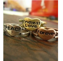 R115 Latest Fashion Retro Street Beat the Influx Of People Endless Love.Peace Forever Ring Jewelry Factory Direct(China (Mainland))