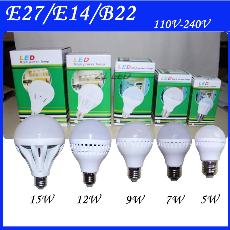 Wholesale Hight power LED Lamp E27 5W 7W 9W 12W 15W 25W B22 E14 AC 220V 110V Cold/Warm White Led Spotlight Lamps Free Shipping(China (Mainland))