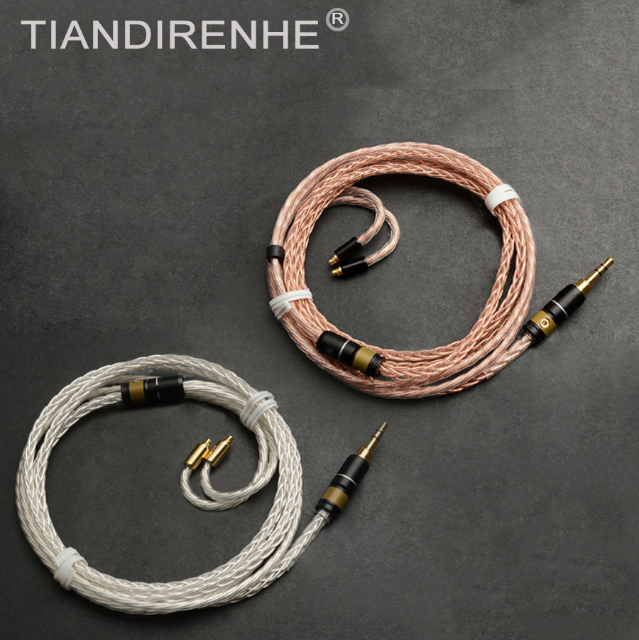 MMCX Cable For Shure SE215 SE315 SE535 SE846 UE900 Earphone Upgrade 8-core Single Crystal Copper Silver Plated Cables Wire line