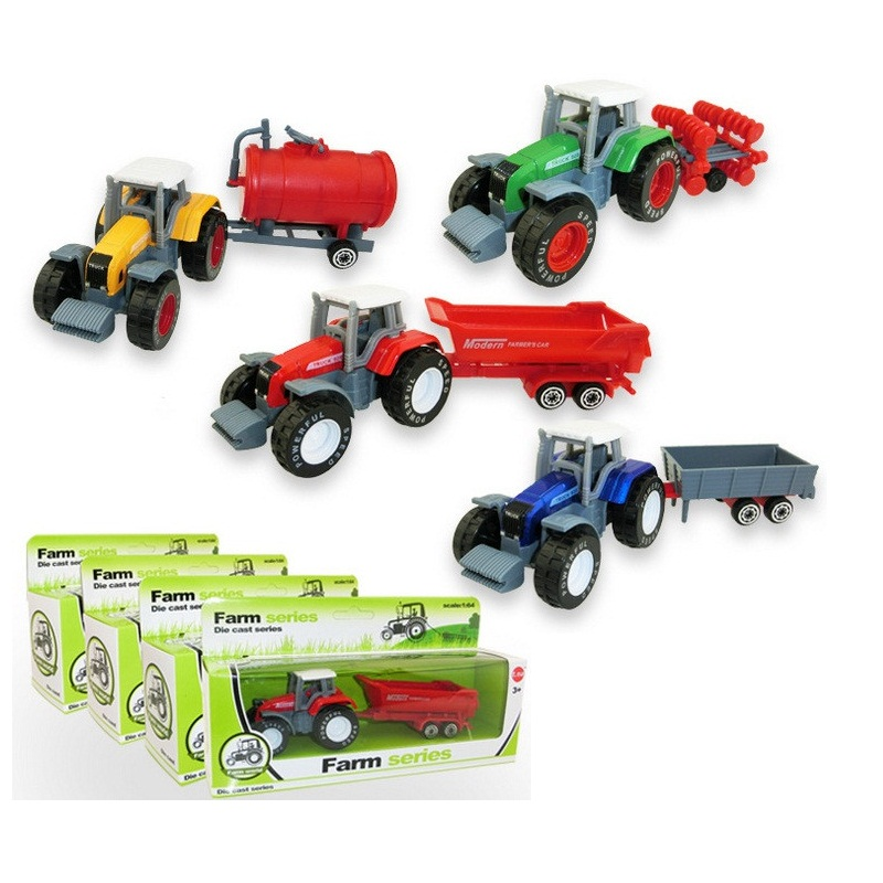 4pcs Fashion Simulated Engineering Truck hot high quality alloy car 1:64 model slide farm truck tractor slip truck color box(China (Mainland))