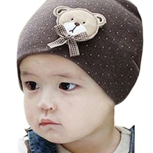 New Fashion 0-9M Lovely Infant Unisex Baby Boys Girls Bear Dots Pattern Cotton Cap Winter Beanie Hats 9 Colors(China (Mainland))