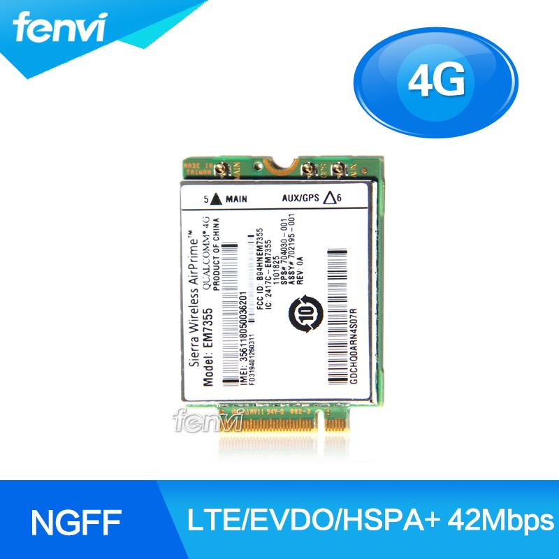 Фотография New Unlock Sierra Gobi5000 EM7355 LTE/EVDO/HSPA+ 42Mbps NGFF Card 4G Module for HP lt4111 820 G1 WWAN NGFF 4G Card 704030-001