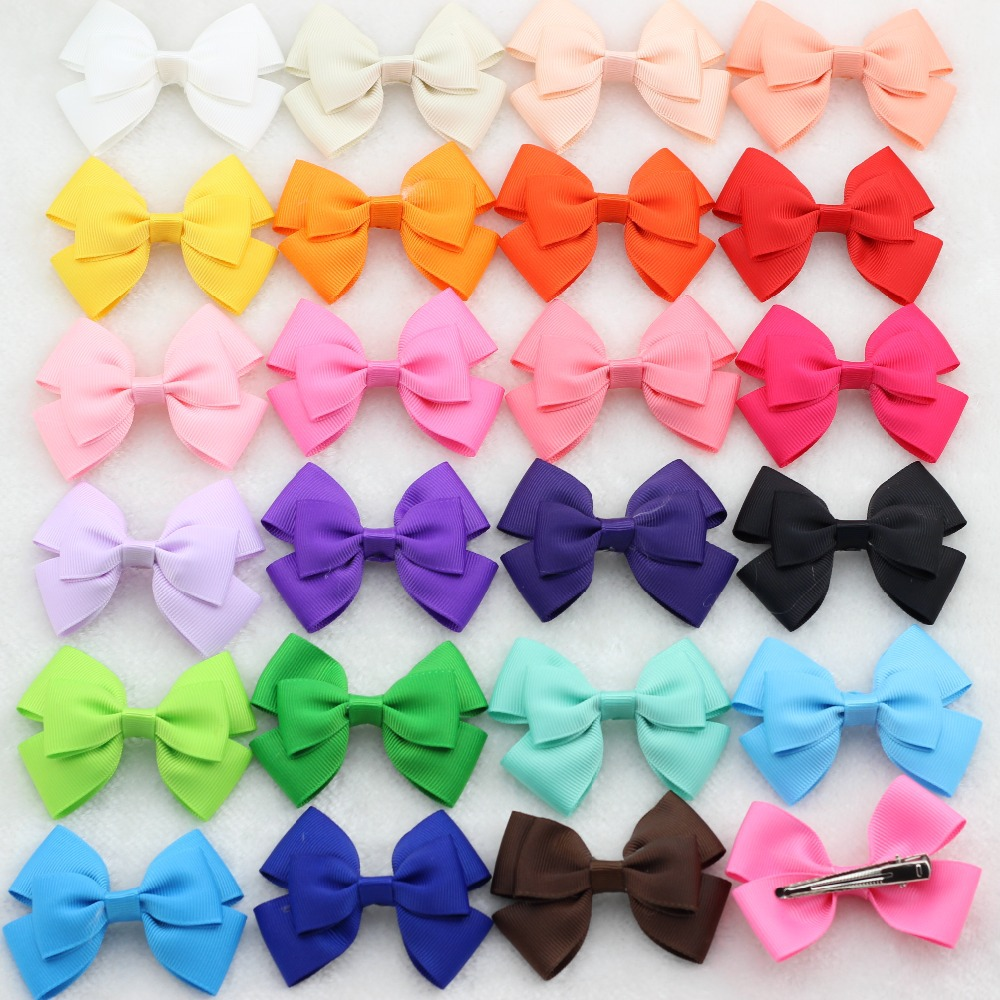 """24Pcs 3"""" Multi-overlap Grosgrain Ribbon Hair Bows WITH/WITHOUT CLIPS Baby Girls Boutique Hair Bow Hair accessories Kids Hairpins(China (Mainland))"""