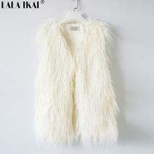 Women Faux Fur Vest  Sleeveless Fur Coat Spring Fur Top Outerwear Plus Size 2XL 3XL Lamb Fur Vest SWQ061(China (Mainland))