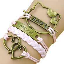 Fashion Pink Hello Kitty Multi layer Leather Charm Bracelet Bangle for women Wholesale fine jewelry bracelets Heart Dream Love(China (Mainland))