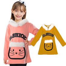 Baby Clothes Warm Thick Girls Hoodies Cute Cartoon Sweatshirt For Girls Artificial Fur Long Length Children Clothing Girls Top(China (Mainland))