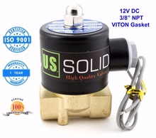 "U. S. Solid 3/8"" Brass Electric Solenoid Valve 12V DC NPT Thread Air, Gas,Fuel Normally Closed ISO Certified One Year Warranty(China (Mainland))"