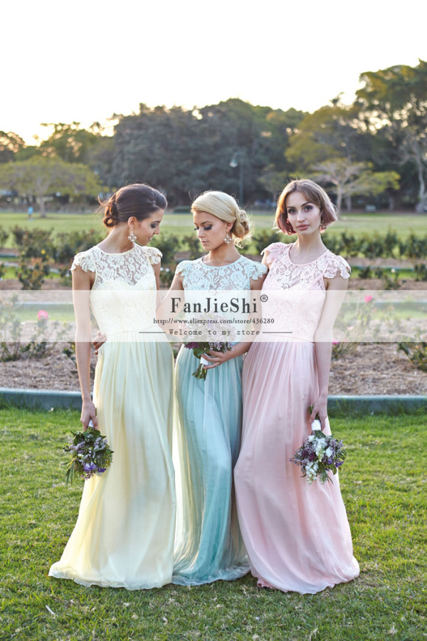 2015 New Style Custom Made Vestidos Scoop Neckline Lace Cap Sleeve Backless Chiffon Long A-Line Bridesmaid Dresses - Suzhou FanJieShi Wedding Dress Co., Ltd. store