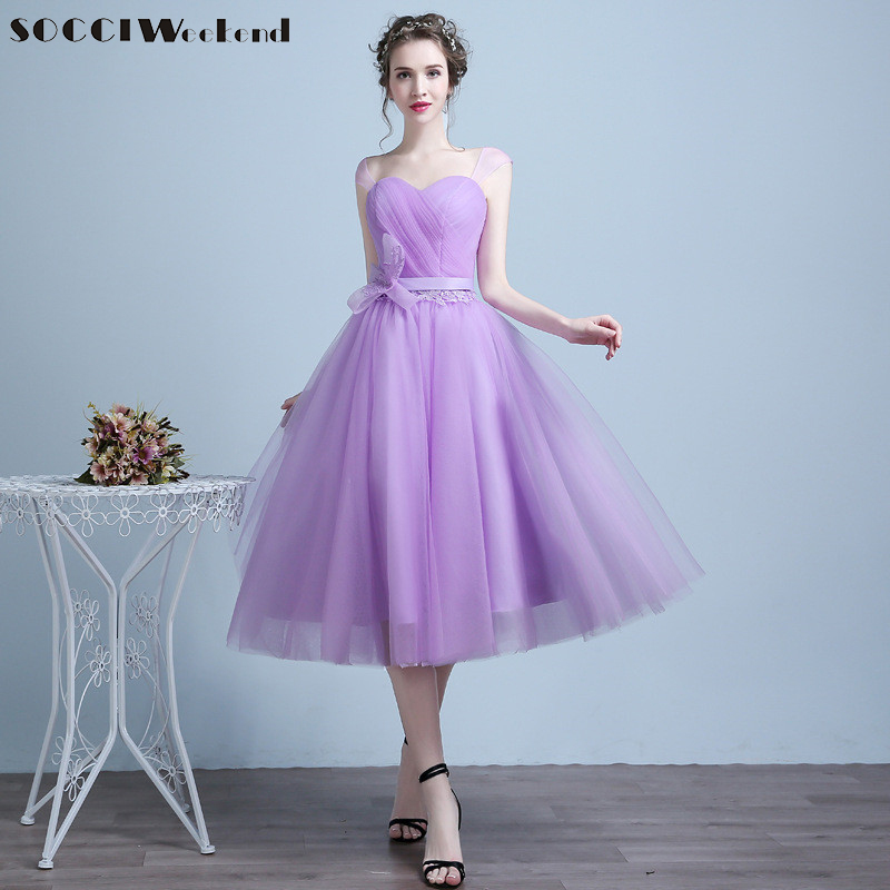 SOCCI Lavender Cocktail Dresses Elegant Sweetheart Tulle Cap Sleeve Charming Homecoming graduation Tea Length vestido de Dress(China (Mainland))
