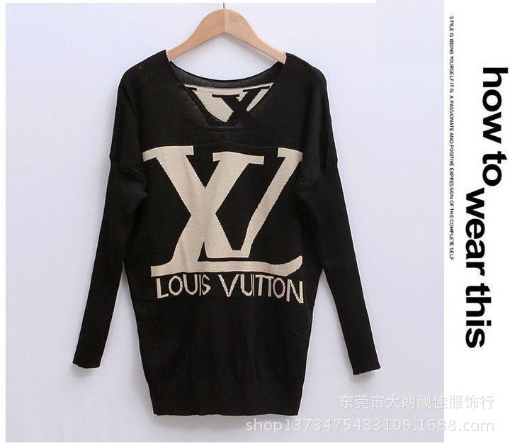 Женская вязать свитер пуловер перемычка V шеи тянуть роковой леди печать Batwing весна зима Большой размер мода WS-066