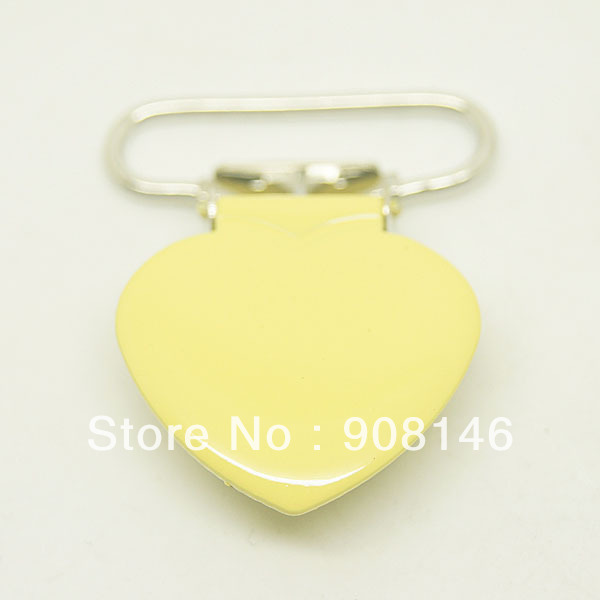 10per lot,heart shape suspender clips yellow color, clips,