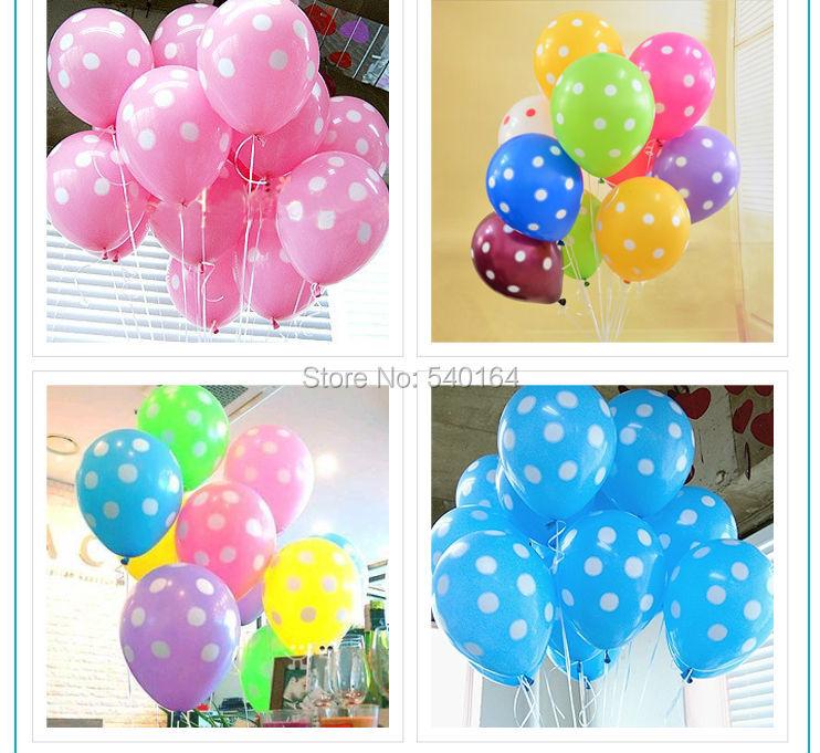 Free Shipping 100pcs/lot 12 inch 2.8g/pcs Latex Polka Dot Balloons Mixed Color Helium Balloons Party Decor(China (Mainland))
