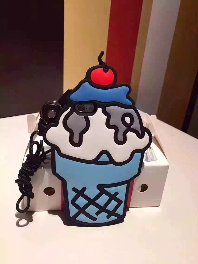 Fashion 3D Cartoon Sweet Cherry Ice Cream Soft Silicone Back Cover Phone Case for iPhone 5 5s SE 6 6s 6 plus 6s plus Cases Coque