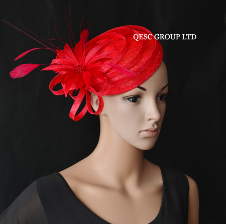 Red sinamay fascinator hat with feathers&rhinestones for kentucky derby,ascot races,melbourne cup,wedding.(China (Mainland))