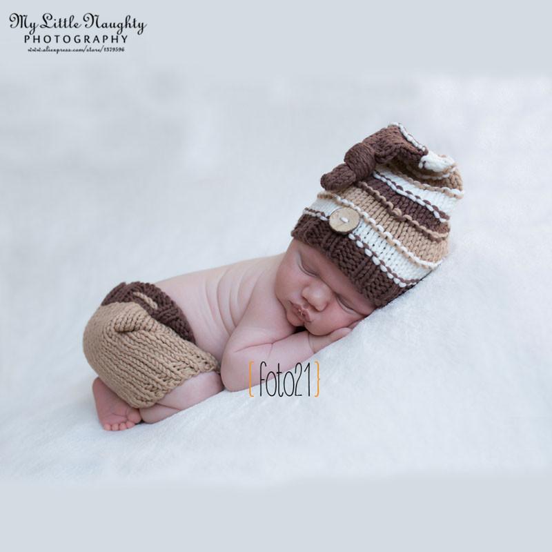 Fotografia newborn newborn photography props knitting patterns crochet outfit khaki knot button beanie +pants baby shower gift(China (Mainland))