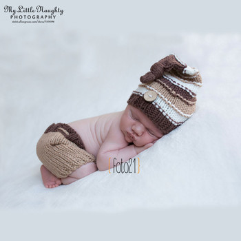 Fotografia newborn newborn photography props knitting patterns crochet outfit khaki knot button beanie +pants baby shower gift