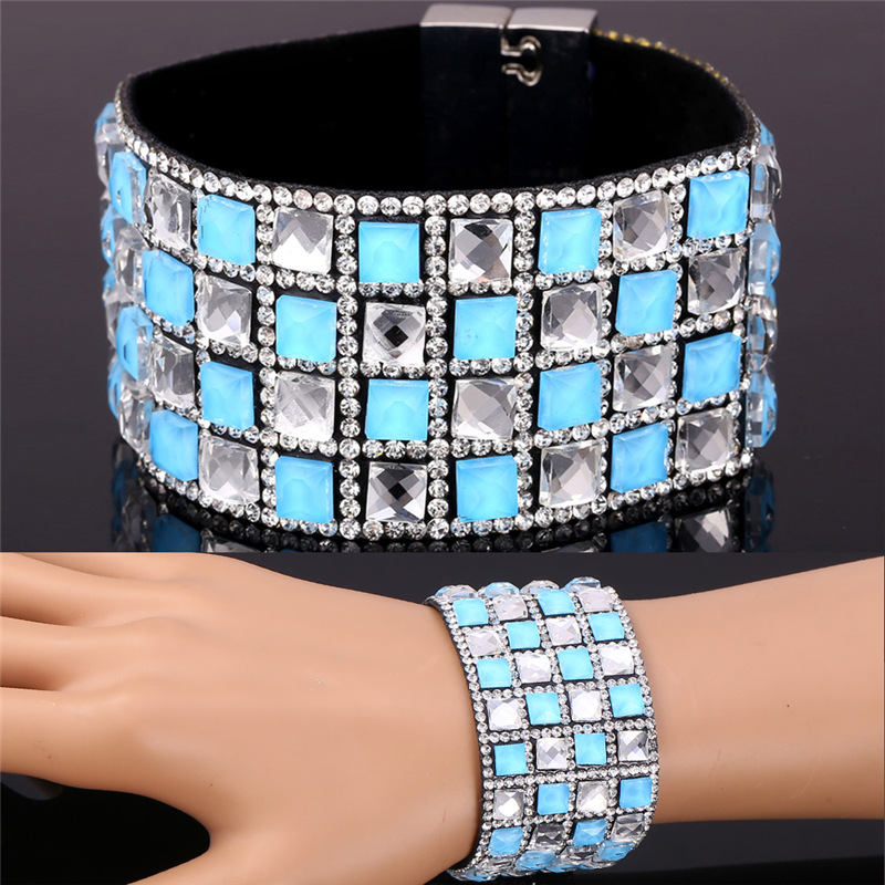 Punk Rock Style Leather Wrap Bracelets For Women Trendy Rhinestone Crystal Bracelets Bangles For Women Jewelry Wholesale IH1510(China (Mainland))