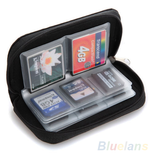 Black SD SDHC MMC CF Micro SD Memory Card Storage Carrying Pouch Case Holder Wallet 1DS7(China (Mainland))