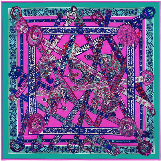 130 см * 130 см 100% шелк евро фирменный стиль женщины единорог песня пояса и цветок шелковый косынка Femal мода платки